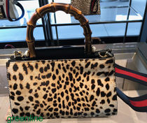 GUCCI Nymphaea Leopard Patterns Spawn Skin Blended Fabrics 2WAY Bi-color
