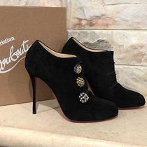 Christian Louboutin Round Toe Suede Plain Pin Heels With Jewels Elegant Style