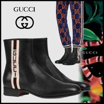GUCCI Stripes Plain Toe Street Style Leather Chelsea Boots