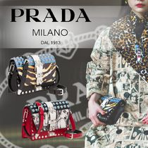 PRADA ELEKTRA Studded 2WAY Leather Party Style Shoulder Bags