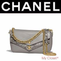 CHANEL ICON Calfskin Blended Fabrics Street Style 2WAY Chain Plain