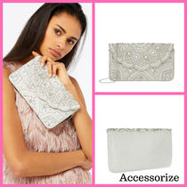 Accessorize 2WAY Chain Handmade Party Style With Jewels Clutches