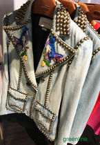GUCCI Flower Patterns Casual Style Blended Fabrics Studded Plain
