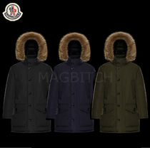 MONCLER RIVER Fur Street Style Plain Long Parkas