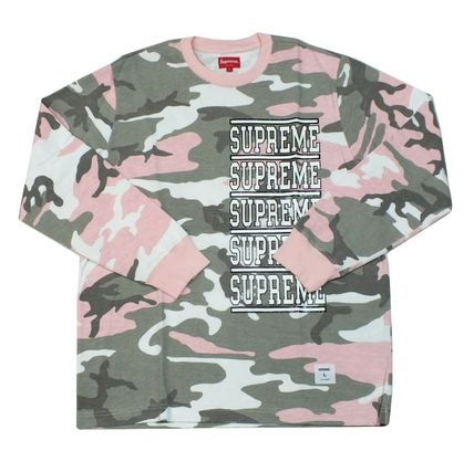Supreme Crew Neck Camouflage Street Style Long Sleeves Cotton