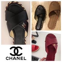 CHANEL Casual Style Plain Leather Slippers Sandals Sandal