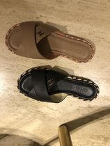 CHANEL Casual Style Plain Leather Slippers Sandals