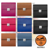 HERMES Unisex Plain Leather Folding Wallets