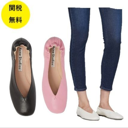 Plain Other Animal Patterns Leather Flats
