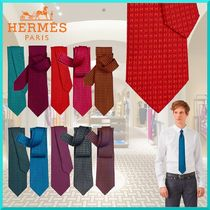 HERMES Other Plaid Patterns Silk Logo Ties