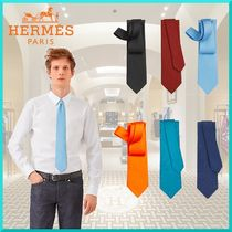 HERMES Other Plaid Patterns Monogram Silk Plain Logo Ties