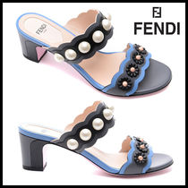 FENDI Flower Patterns Open Toe Casual Style Plain Leather