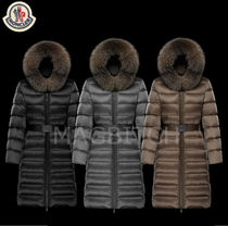 MONCLER TINUVIEL Street Style Plain Leather Long Down Jackets