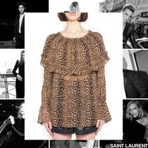 Saint Laurent Leopard Patterns Casual Style Silk Street Style Long Sleeves