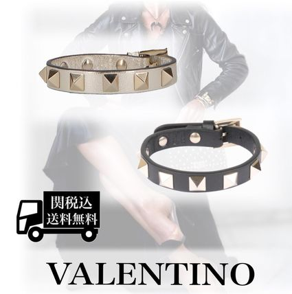 Casual Style Blended Fabrics Studded Leather Bracelets