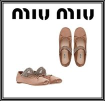 MiuMiu Plain Leather With Jewels Ballet Shoes