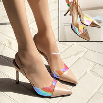 Plain Pin Heels PVC Clothing Elegant Style