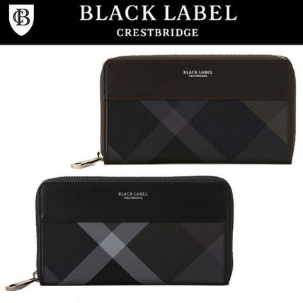 Other Check Patterns Leather Long Wallets