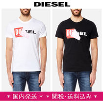 DIESEL Crew Neck Pullovers Street Style Plain Cotton Short Sleeves