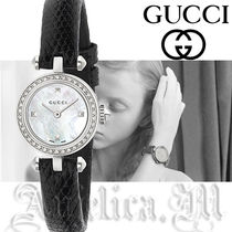 GUCCI Leather Round Quartz Watches Elegant Style Analog Watches