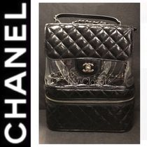 CHANEL ICON Other Check Patterns Blended Fabrics Street Style A4 Chain