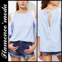 Stripes Casual Style Long Shirts & Blouses