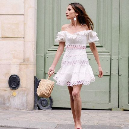 Short Casual Style Street Style Plain Lace Dresses