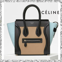 CELINE Luggage Bi-color Plain Leather Elegant Style Handbags