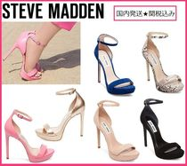 Steve Madden Open Toe Plain Pin Heels Party Style Python Heeled Sandals