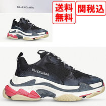 BALENCIAGA Triple S Unisex Suede Street Style Sneakers