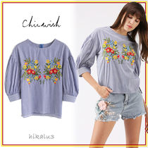 Chicwish Stripes Flower Patterns Casual Style Dolman Sleeves Cotton