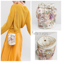 ASOS Flower Patterns 2WAY Chain Party Style With Jewels Clutches
