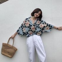 Flower Patterns Casual Style Dolman Sleeves Street Style