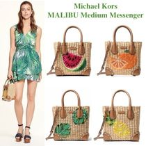 Michael Kors MALIBU Tropical Patterns Studded 2WAY With Jewels Straw Bags