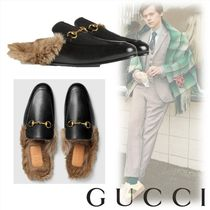 GUCCI Blended Fabrics Chain Plain Leather Sandals