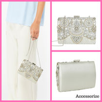 Accessorize Blended Fabrics 2WAY Chain Party Style With Jewels Clutches