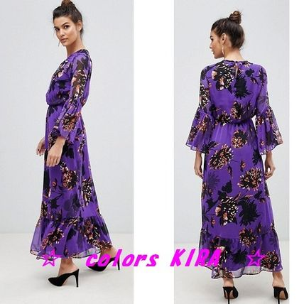 Flower Patterns Long Sleeves Long Party Style Dresses