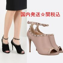 VALENTINO Open Toe Suede Studded Bi-color Plain Pin Heels
