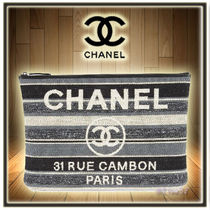 CHANEL DEAUVILLE Stripes Unisex Elegant Style Clutches