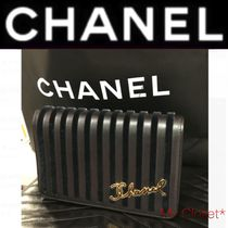 CHANEL ICON Stripes Blended Fabrics 2WAY Chain Leather Elegant Style