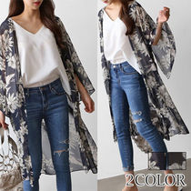 Flower Patterns Casual Style Chiffon Street Style Cropped