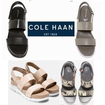 Cole Haan ZEROGRAND Open Toe Platform Casual Style Plain Leather Footbed Sandals