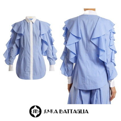 Stripes Casual Style Long Sleeves Cotton Long
