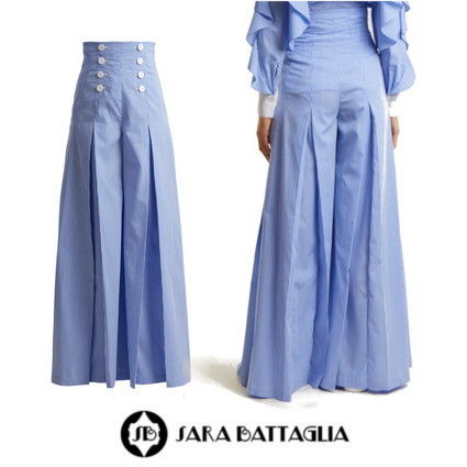 Stripes Casual Style Cotton Long Pants