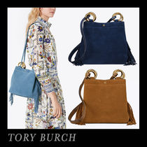 Tory Burch Suede Plain Fringes Office Style Totes