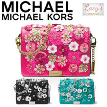 Michael Kors JADE bag Flower Patterns Studded 2WAY Chain Plain Leather Party Style