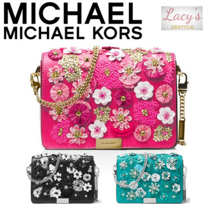 9244249f4f18 ... Michael Kors Clutches Flower Patterns Studded 2WAY Chain Plain Leather  Party Style ...