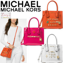 Michael Kors MERCER Casual Style Studded Street Style 2WAY Plain Leather