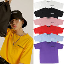 BASIC COTTON Crew Neck Unisex Street Style Plain Cotton Short Sleeves