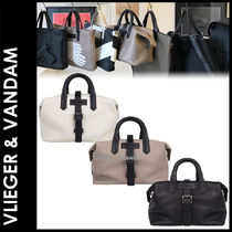 Vlieger & Vandam Plain Leather Elegant Style Boston & Duffles